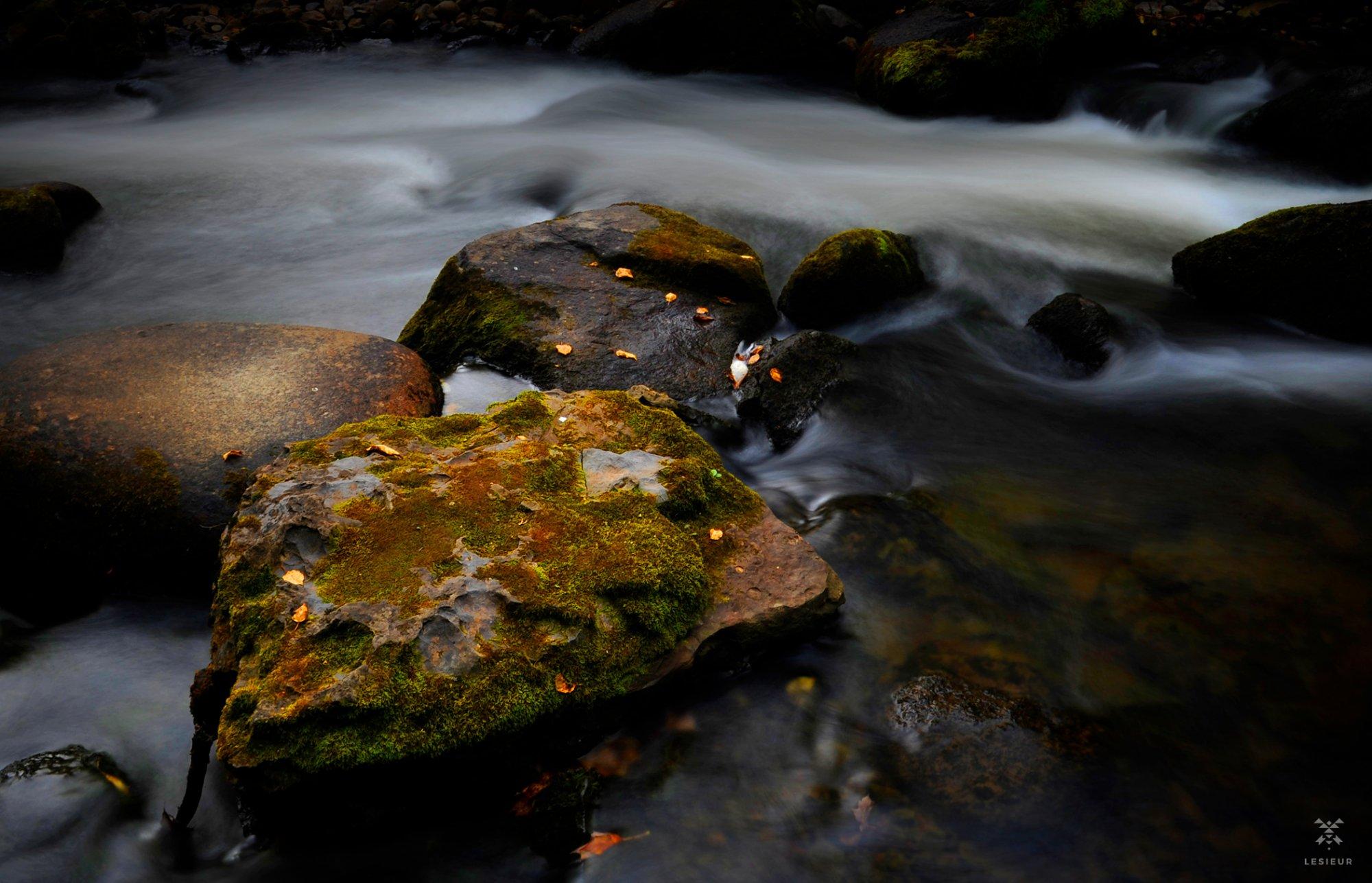 Nature, longue exposition, rivière en automne